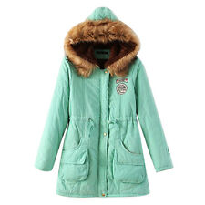 Women's Thicken DUFFLE WOOL Fur Collar Hooded Quilted Jacket Winter Parka Coat