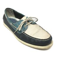 Men's Johnston & Murphy Boat Shoes Sneakers Size 11.5 M Blue White Leather AI15