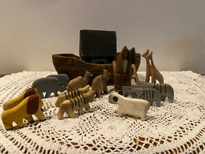 Vintage Hand-Made WOODEN Noah & Ark w/6-pairs of Animals Primitive FOLK ART