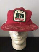 Vintage Patch MIDLAND AGRICULTURE Mesh Snapback Trucker Hat Baseball Cap Lid