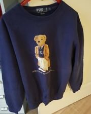 POLO Ralph Lauren Teddy Bear Felpa Mens S Blouse Vintage Blue TRENCH RAR