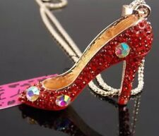 Betsey Johnson Necklace HIGH HEELS RED Sexy Gold  Stilettos Crystals
