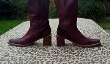 Vintage Burgundy Cowboy style Leather Ankle boots UK 6 EU 39 USA 8.5