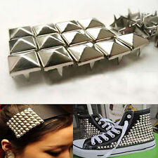 100X DIY Square Cone Spike Metal Stud Rivet Punk Shoes Bag Clothes Accessories