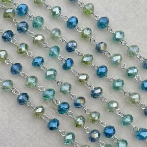 Green Blue Crystal Rondelle Beaded Rosary Silver Eyepin Chain 8mm 2ft per Pkg