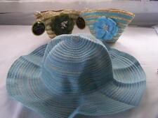New Sun Lilly Foldable Sun Hat + Carry Bag Blue Natural Beige
