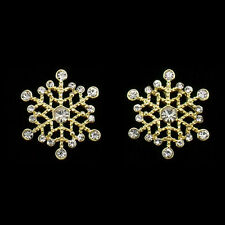 Winter Holiday Stud Snowflake Crystal Earrings Pairs Costume Jewelry Clear Gold