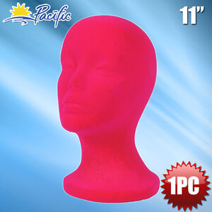 "11"" STYROFOAM FOAM PINK MANNEQUIN MANIKIN head display wig hat glasses"