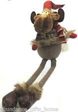 Tartan & Herringbone Reindeer Shelf Sitting Dangly Legs Plush Christmas 56cm
