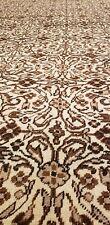 Beautiful Antique 1930-1940s Undyed Wool Pile Nutral Wool Dye Bunyan Rug 7x10ft