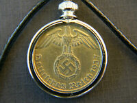 "Necklace WW2 German 1937-1939 5 Pfennig Leather Chain 18"""