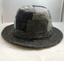VTG Hanna Hats Black Patchwork Tweed Wool Bucket Walking Hat M Handmade IRELAND