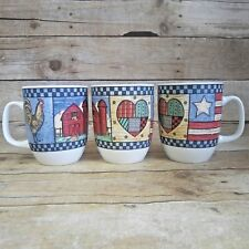 Libbey Decorative Coffee Cup Mug Rooster Farmhouse Patchwork Flag Set of 3