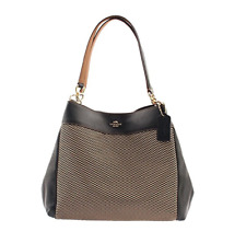 Coach Lexy Legacy Jacquard Shoulder Bag Handbag Purse Black Grey F57540