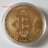 Bitcoin Gold Plated Physical Commemorative Bitcoin In Protective Acrylic Case X