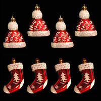 Red & White Christmas 4 Pack Mini Hanging Tree Decorations - Hats or Stockings