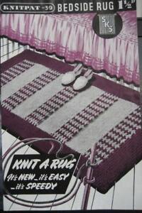 Vintage 1940s BEDSIDE RUG Knitting Pattern Knitpat #39