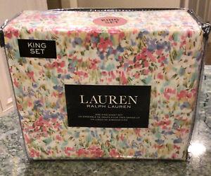 Laren Ralph Lauren KING Cotton Sheet Set 4 Pc Watercolor Floral Pastel NEW!