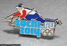 OLYMPIC PINS BADGE 2014 SOCHI RUSSIA CUT OUT SPORT OF CURLING (SILVER )