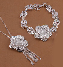 925 Sterling Silver Layered  Filigree flora Bracelet/Necklace Set S-A345