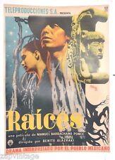 Vtg Mexican Movie Poster 1954 RAICES (Beatriz Flores / Juan De La) Art By Renau