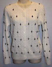 J Crew Collection Jeweled CAMBRIDGE CABLE CARDIGAN SWEATER Sz S vintage ivory