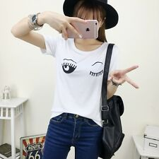 Fashion Girl Cute Eyelashes Pattern Casual Loose Tops Girl Blouse T-shirt Size L