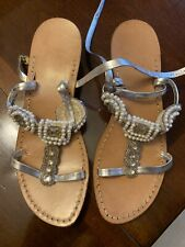 Vintage Beaded Mod Sandals Metallic Silver Beads Pearls 1960's 60's 7.5/8 Mules
