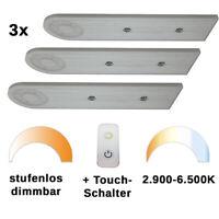 Unterbauleuchte LED Küche dimmbar 3er Set Unterschrankleuchte slim TDW8 Design