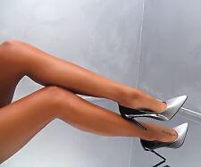NEU LACK HOHE STILETTO Damen High Heels W62 Silver Glitter Ombre Pumps Schuhe