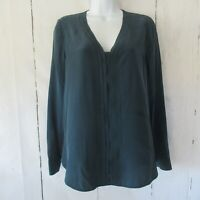 Vince Silk Top XS X Small Teal Blue Green Long Sleeve V Neck
