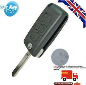 fits Peugeot 1007 807 4 button remote flip key case shell replacement