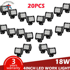 20Pcs 4inch Reverse Cube Led Work Light Bar Flood Pods Offroad Driving PK 18W