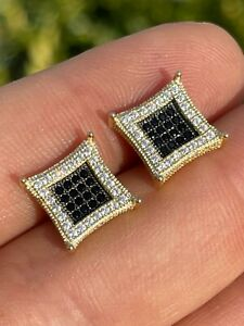 Mens 14K Gold & Real 925 Sterling Silver Iced Kite Black Diamond Earrings Studs