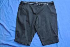 MODA Stretch Sateen BLACK Crop Pants Size 26 NEW rrp $49 Hem Cuff. Belt Included