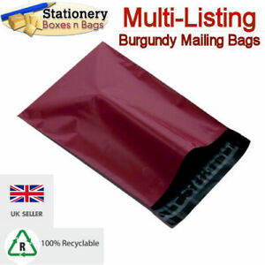 STRONG BURGUNDY MAILING BAGS Postage Mailers Plastic Post Polythene *RECYCLABLE*