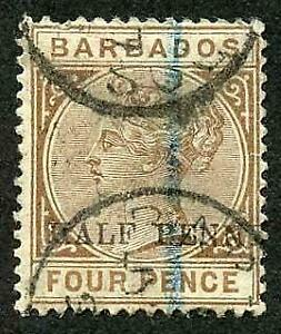 Barbados  SG104a 1/2d on 4d Missing Hyphen (perf fault top left) Cat 40 pounds