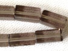 30 RECTANGULAR SMOKEY GREY COLOUR JEWELLERY MAKING GLASS BEADS 12 x 7mm G0029