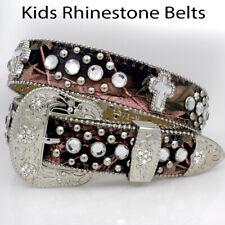 Girls Pink Camo Rhinestone Studded Cross Leather Belt