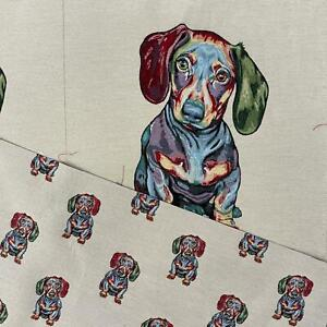 Daschund Dog Panel Colourful Cotton Linen Look Craft Fabric Upholstery Fabric