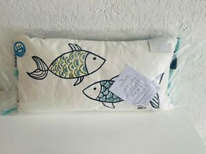 LEVTEX HOME Feather Filled decorative Pillow EMB FISH with Tassels NEW