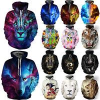 Men Women 3D Animal Graphic Printed Sweatshirt Pullover Hoodies Jacket Coat Tops