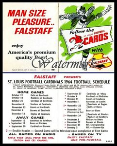 NFL 1964 St. Louis Cardinals Pocket Schedule Falstaff Beer 8 X 10 Photo Reprint