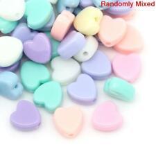 100 Heart Beads Pastel Acrylic Bubblegum - Love Hearts - 8mm Mixed Colour Hearts