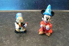 Disney Jiminy Cricket & Sorcerer Mickey Fine Porcelain Miniature Figurines
