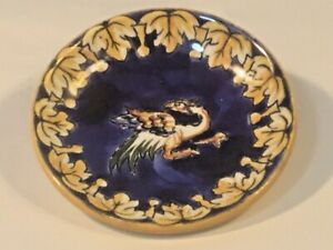 Antique French Faience Butter Pat  Cobalt Blue and Yellow Phoenix Dragon