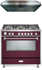"Verona Designer Series Vdfsgg365Bu 36"" All Gas Range Oven With Hood Burgundy"