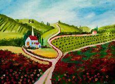 Church on a Hill Natasha Petrosova Original Oil Painting Impressionism 096