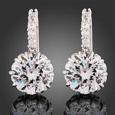 Women Plated 18K White Gold Filled Princess Crystal Rhinestone Hoop Earrings AU