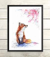 Fox,Blossom, Sale,Original ,Watercolour ,Print ,Card, Gift, Wildlife,Animal,Art,